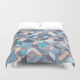Shifitng Geometric Pattern in Blue Duvet Cover