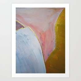 Bliss: A pretty, minimal, abstract mixed-media piece in pink white and gold by Alyssa Hamilton Art Art Print