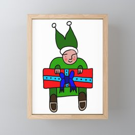 Elf with a Gift for Christmas Framed Mini Art Print