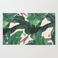 banana leaf Area & Throw Rugs featuring Banana Leaf Pattern by Tamsin Lucie