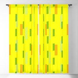 pixel brick geometric pattern_lemon, green Blackout Curtain