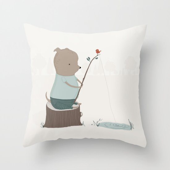 Oliver Goes Fishing Throw Pillow