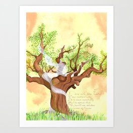 The concentrated Lady of the Oak Art Print