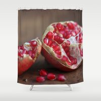 pomegranate Shower Curtains featuring pomegranate by Life Through the Lens