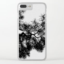Pine Tree Black & White Clear iPhone Case