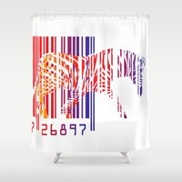 zebra Shower Curtains featuring zebra  by mark ashkenazi