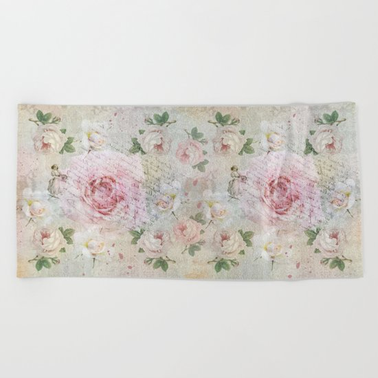Romantic vintage roses and French handwriting Beach Towel