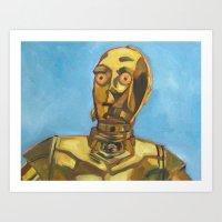 c3po Art Prints featuring C3PO by Dani Brandimarte