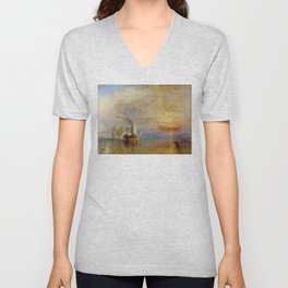 The Fighting Temeraire by J. M. W. Turner (1838) Unisex V-Neck