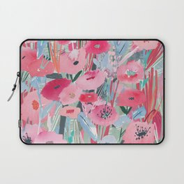 Pink and Blue Field of Flowers Laptop Sleeve