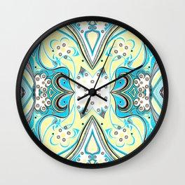 Yellow Butterfly 2 Symmetrical design Wall Clock