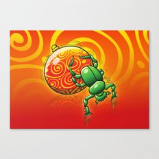 Green Beetle Pushing a Christmas Ball Canvas Print