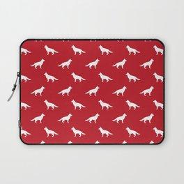 German Shepherd silhouette red and white minimal dog breed pattern dogs dog art Laptop Sleeve