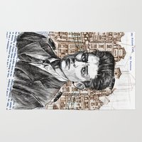 kafka Area & Throw Rugs featuring Kafka by Nina Palumbo Illustration