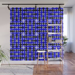 Strict blue tiles of intersecting white squares and black curly rhombuses. Wall Mural