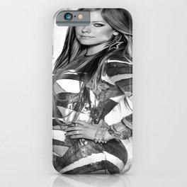 A Beautiful Avril Lavigine Singing wallpaper/poster/Black shirt design  iPhone Case