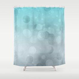 Aqua Turquoise Grey Soft Gradient Bokeh Lights Shower Curtain
