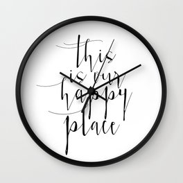 This Is Our Happy Place, Our Happy Place Print, Prints, Hand Lettered Print, Wall Art Wall Clock