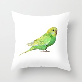 Geometric green parakeet Throw Pillow