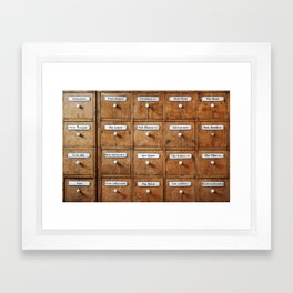 Pharmacy storage Framed Art Print
