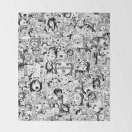 Ahegao classic Throw Blanket