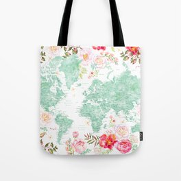 Mint green and hot pink watercolor world map with cities Tote Bag