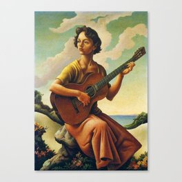 Classical Masterpiece 'Jesse with Guitar' by Thomas Hart Benton Canvas Print