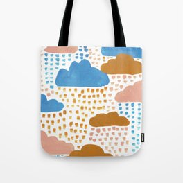 Hand Painted Pink Blue and Ochre Rain Clouds Tote Bag