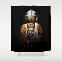 pilot Shower Curtains featuring Pilot 03 by Rafal Rola