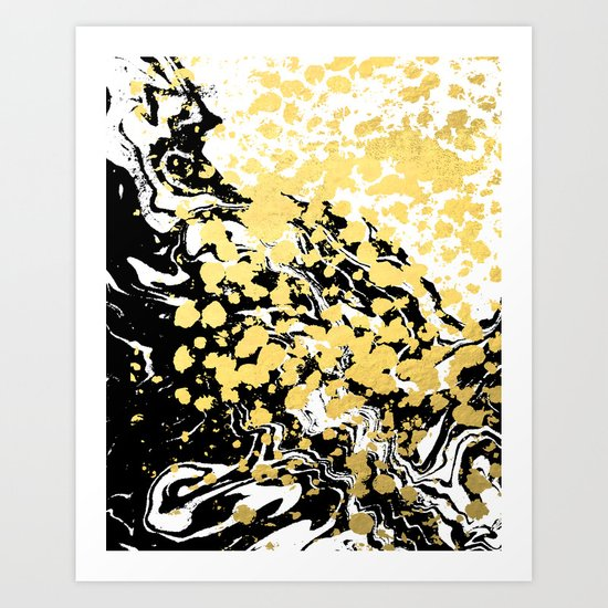 Sukie - abstract gold black and white foil glitter shiny sparkle hipster painting free spirit cosmic Art Print