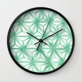 Mint Asanoha Wall Clock