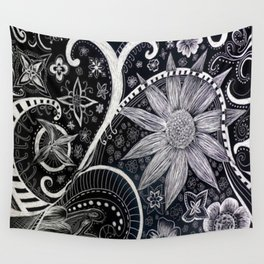 Flower and Swirls Abstract Scratchboard Illustration Wall Tapestry