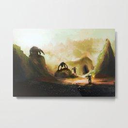 Hunter and Three Wolves Metal Print