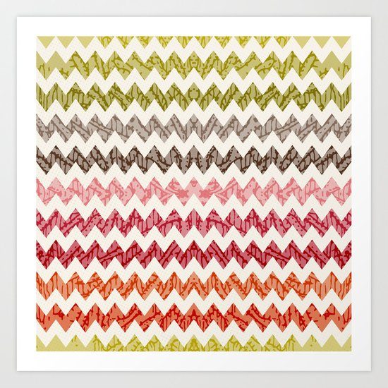 TRIBAL CHEVRON PATTERN Art Print
