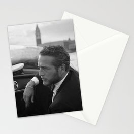 1963 Paul Newman at Venice Film Festival black and white photograph Stationery Cards