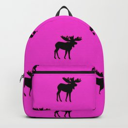 Bull Moose Silhouette - Black on Pink Backpack