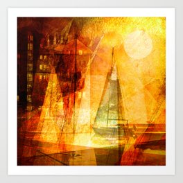 Coming home to harbour Art Print