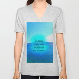 Serenity Prayer With Blue Ocean and Amazing Sky Unisex V-Neck