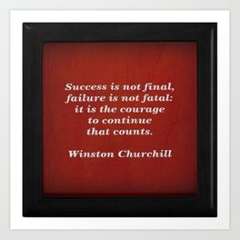 Winston Churchill Success Quote Art Print