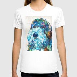 Bearded Collie Art 2 - Dog Portrait by Sharon Cummings T-shirt