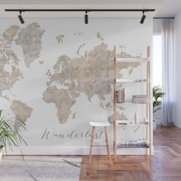 Wanderlust watercolor world map with compass rose Wall Mural