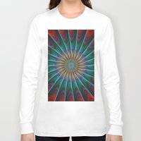 fractal Long Sleeve T-shirts featuring Peacock fractal by David Zydd