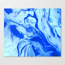 Teal watercolor marble Canvas Print