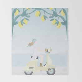 Scooter ride in the sun  past lemons and lemon trees Throw Blanket