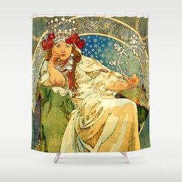 """Alphonse Mucha  """"Princess Hyacinth"""" Shower Curtain"""