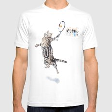 Cat Playing Tennis SMALL Mens Fitted Tee White