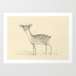 Monochrome Deer Art Print