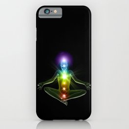 Humanoid in lotus yoga pose with glowing chakras iPhone Case