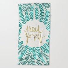 Treat Yo Self – Gold & Turquoise Beach Towel