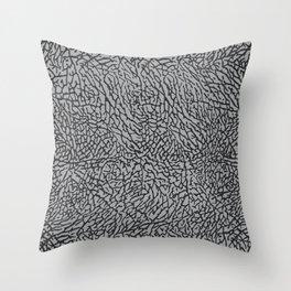 Elephant Print Texture - Grey Throw Pillow